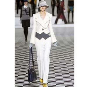 Marc Jacobs white classic pants ribbed texture